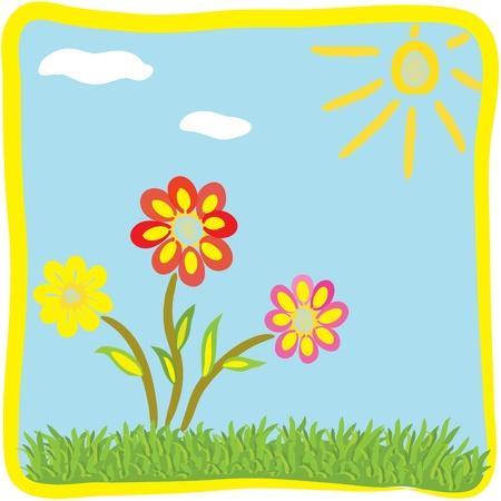 border cartoon: Childish cartoon floral greeting card Illustration