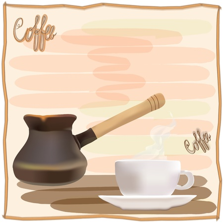 Coffee menu design with coffee pot and cup