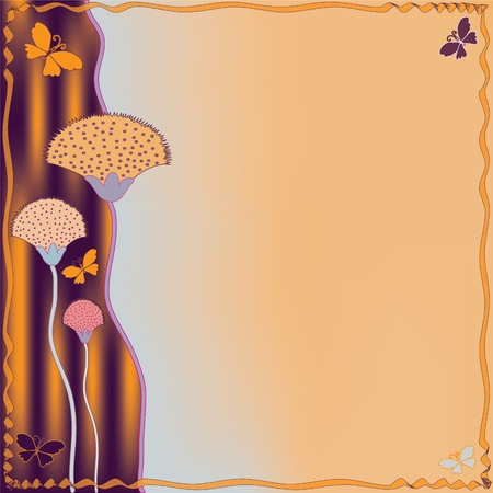 Invitation grunge striped card with abstract flowers and butterflies Vector
