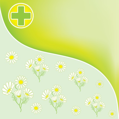 officinal: Green pharmacy background with medical cross and officinal camomile