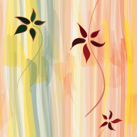 Grunge floral striped vertical seamless watercolor pattern Vector