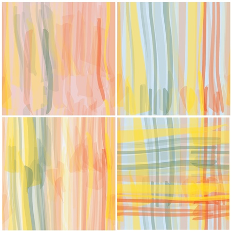 Watercolor grunge striped seamless patterns vector set