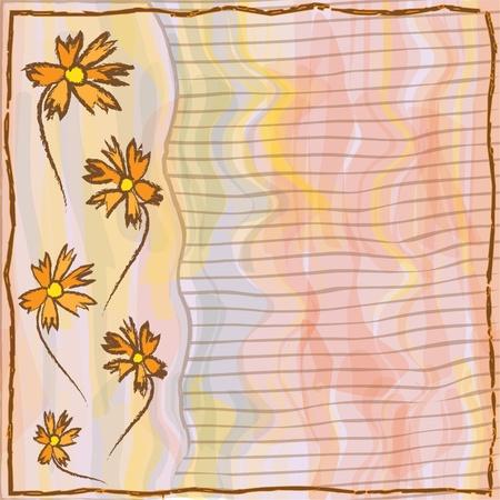 Grunge floral,striped invitation card in watercolor design Stock Vector - 13645954