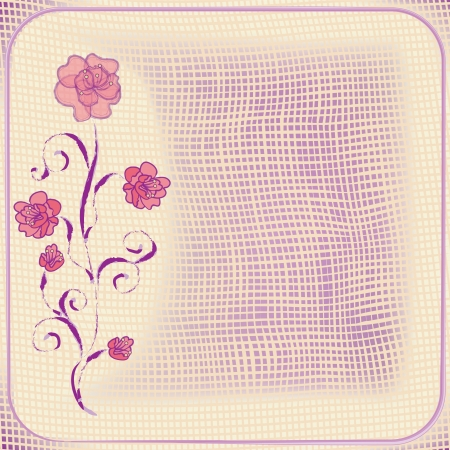 camellia: Invitation grunge floral card with abstract camellia and grid