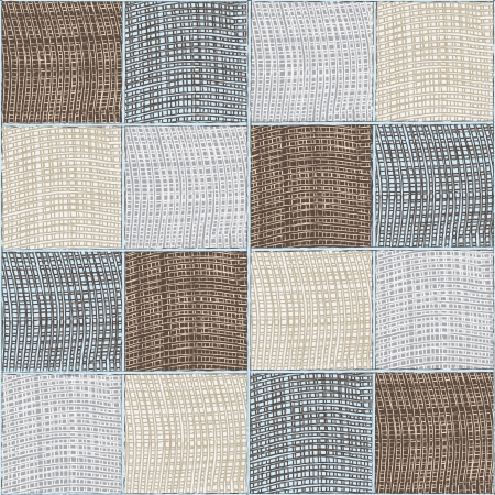 quilted fabric: Seamless quilt checkered medley composition Illustration