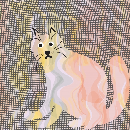 Lonely cartoon cat on grunge canvas background Stock Vector - 13892142