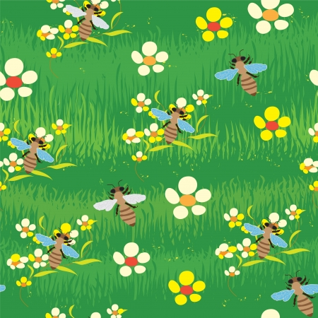 Seamless abstract composition with grass, flowers and bees Illustration