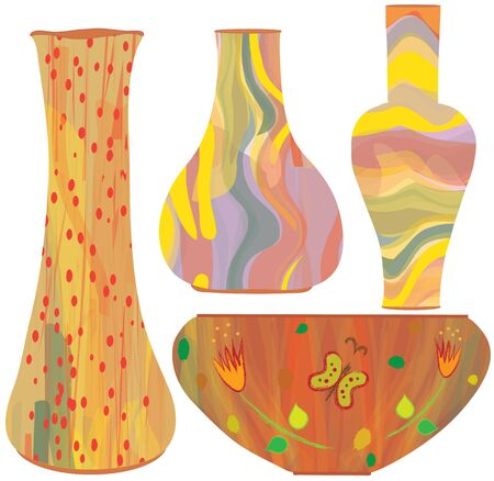 Collection of ceramic vases with colorful painting Vector