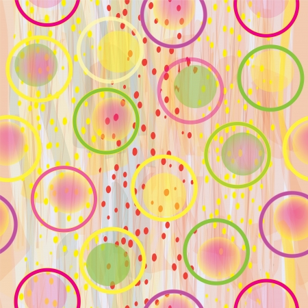 Vector seamless colorful composition with circles,drops and stains on watercolor background  Vector