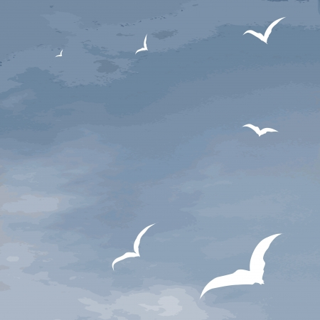 hover: Vector background sea surface and hover seagulls