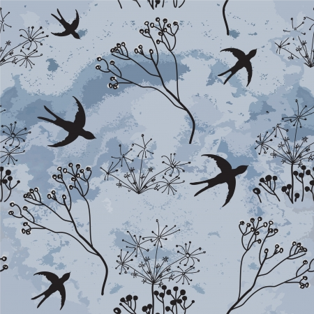 dry flies: Vector seamless drawing swallows hovering to dark cloudy sky and sketch dry flowers