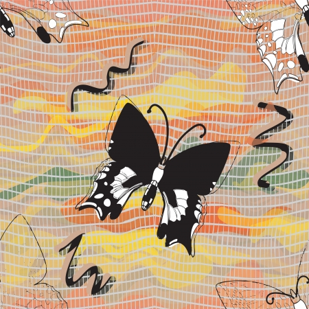 Vector seamless composition with black butterflies on colorful wavy and grid watercolor background Vector