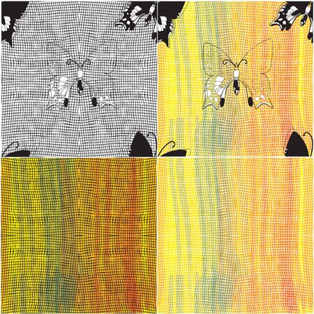 Set of copositions with black and white grids and butterflies on colorful watercolor background Vector