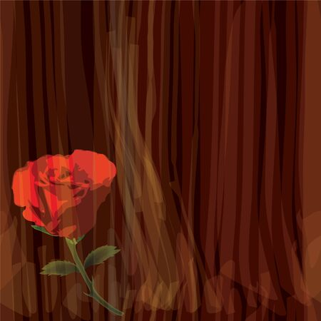 seamless composition with red rose on striped watercolor background Vector