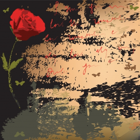 Art abstract background with rose,butterflies, stains, splatters,text Illustration