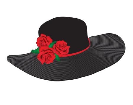 모자: 흰색 배경에 고립 된 빨간 장미와 여성 검은 모자
