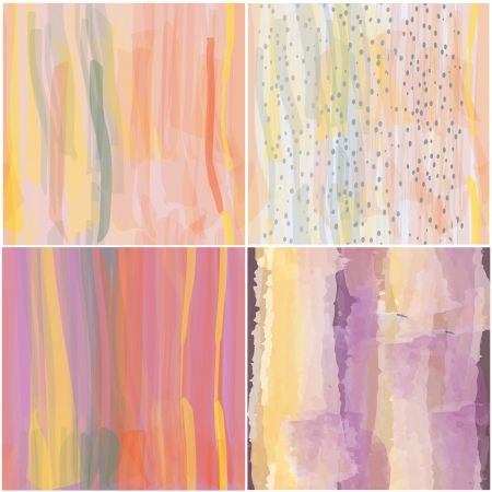 Set of art seamless colorful grunge backgrounds in watercolor design Vector