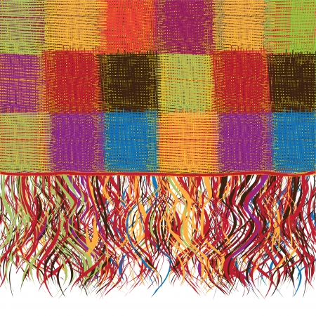 yarns:  Checkered patchwork colorful plaid with fringe
