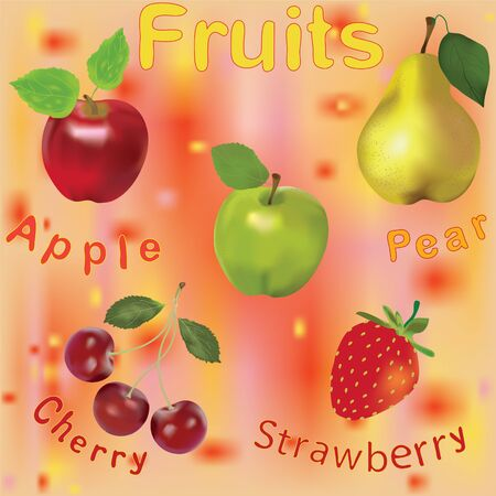 Seamless composition with fruits and berries on colorful background Vector
