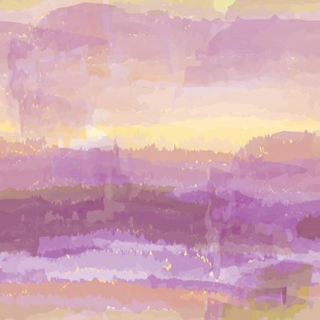 Paysage aquarelle abstraite avec le ciel nuageux Banque d'images - 14637820