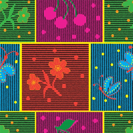 seamless quilt colorful composition with flower, butterflies and cherry Vector