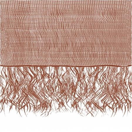 fringe: Woollen brown scraft with fringe,vector illustration Illustration