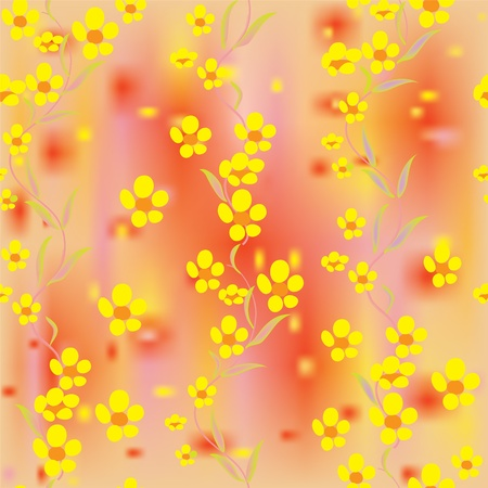 buttercups: Bright buttercups on colorful stained background in seamless composition