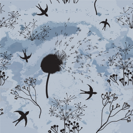 Hovering swallows , dry flowers  and cloudy sky in sketch seamless composition Vector