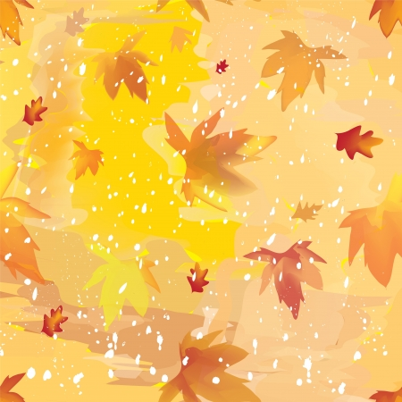 Abstract seamless autumnal background with leaf fall and snowfall Stock Vector - 14927770
