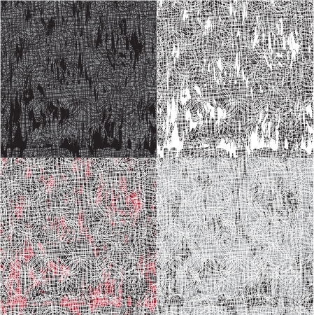 Set of grunge grid and stained seamless patterns Stock Vector - 14973581