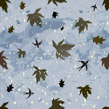 dry flies: Autumnal seamless composition with dark cloudy sky,leaf fall,hovering swallows and snowfall