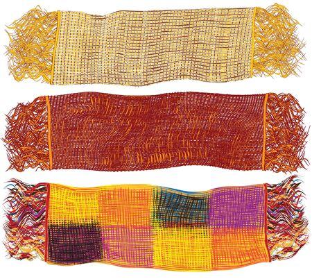 Conjunto de coloridas bufandas de lana aislados en fondo blanco