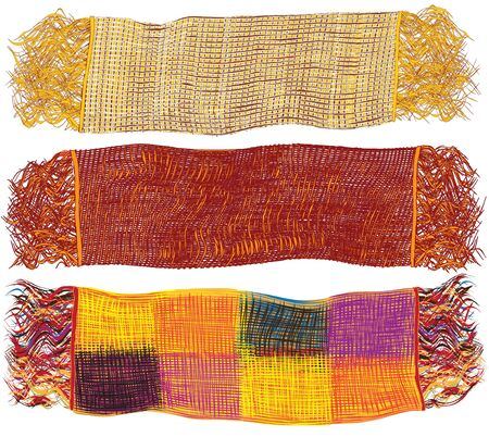 Set of colorful woollen scarfs isolated on white background
