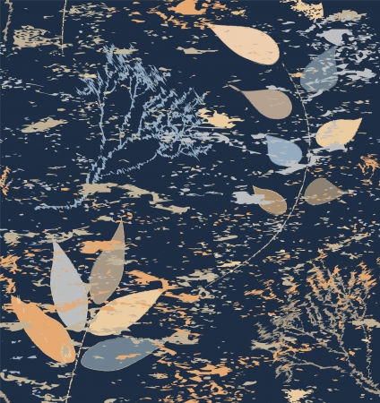 Seamless composition with abstract dry branches on grunge stained background Stock Vector - 15425392