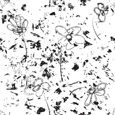 ink spot: Seamless grunge sketch paint with abstract flowers, stains ,splash in black and white colors