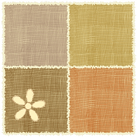 mesh texture: Linen serviette with applique and fringe