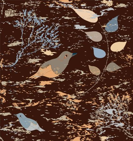 Seamless composition with leafs, branches and birds on dark stained background Vector