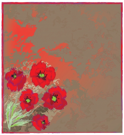 Invitation floral grunge card with poppy bouquet on stained background Vector