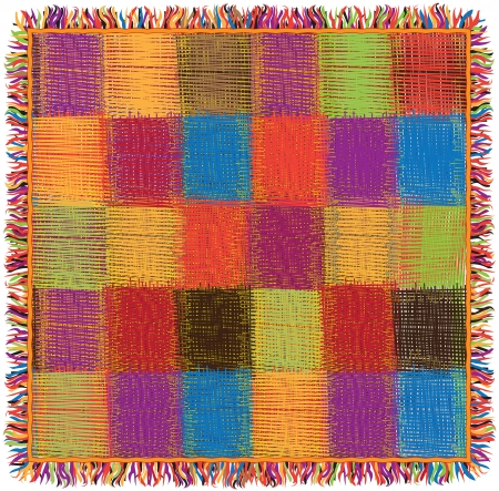 Colorful checkered quilt gingham plaid with fringe Vector
