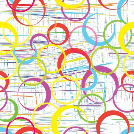 Seamless geometric pattern with rainbow circles on colorful grunge striped background