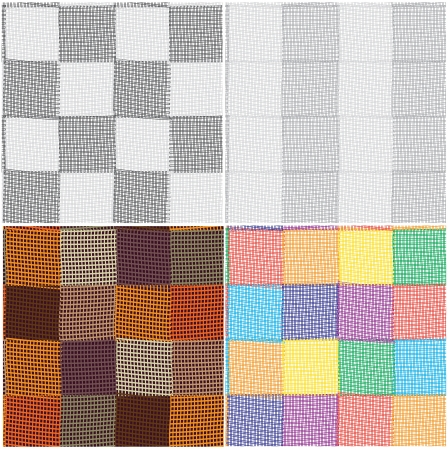 toothed: Set of checkered and striped patterns with toothed design elements