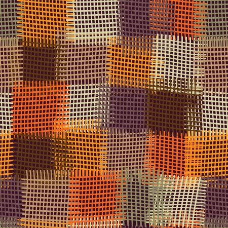 geometric pattern in a square: Grunge checkered and striped seamless colorful quilt pattern
