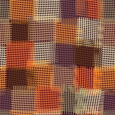 geométrico: Grunge emenda quilt colorido xadrez e listrado Ilustração