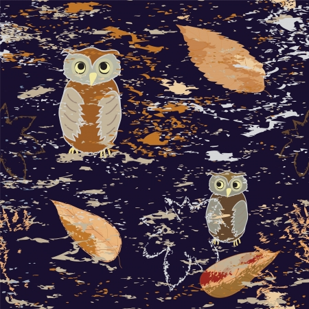 Seamless pattern with owls and leaf fall on grunge dark background