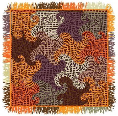 Coloré couette vichy à carreaux avec motif ondulé et la frange Banque d'images - 15969372
