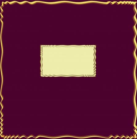 claret red: Tarjeta de la invitaci�n con el marco decorativo ondulado en fondo p�rpura del grunge
