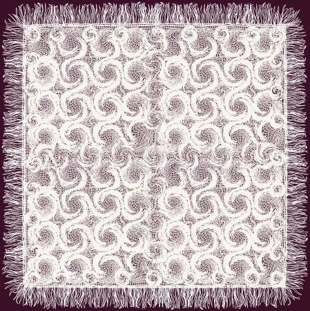 Cordón blanco con la franja en el diseño mantel Ilustración de vector