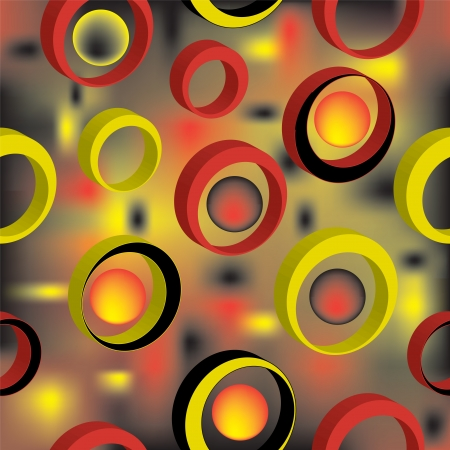 3d colorful rings on grunge stained background in seamless composition Vector