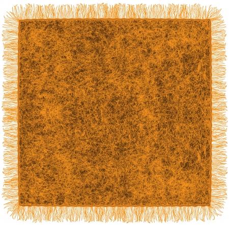 Coperta in lana con frange nei colori arancio e marrone