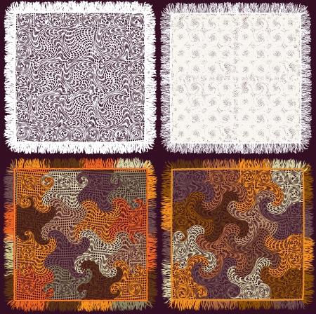 fringe: Set of colorful and white serviettes,plaids,tablecloths, carpets with fringe Illustration